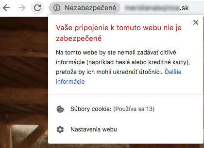 Weby bez SSL výrazne upozorňujú na nezabezpečený obsah